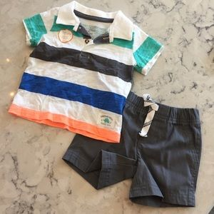New Carter's polo and drawstring shorts set